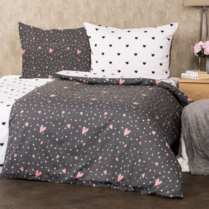 4Home Bavlnené obliečky Srdiečka, 140 x 200 cm, 70 x 90 cm