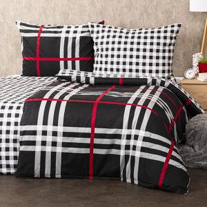 4Home Flanelové obliečky Kocka čierna, 140 x 220 cm, 70 x 90 cm