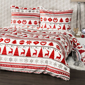 4Home obliečky mikroflanel Christmas Time červená, 140 x 220 cm, 70 x 90 cm