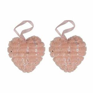 Altom Sada plyšových vianočných ozdôb Hearts 2 ks, ružová