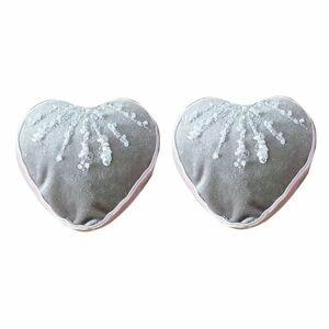 Altom Sada zamatových vianočných ozdôb Shiny Hearts 2 ks, sivá