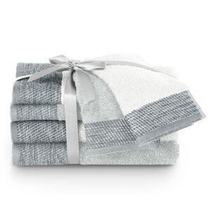 AmeliaHome Sada uterákov a osušiek Aria biela/strieborná, 2 ks 30 x 50 cm, 2 ks 50 x 90 cm