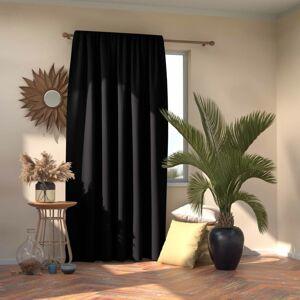 AmeliaHome Záves Blackout Oxford Pleat čierna, 140 x 245 cm