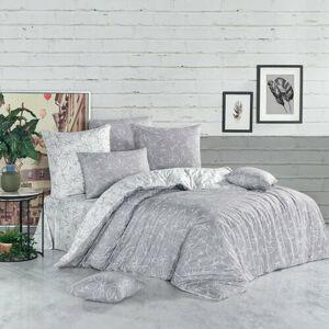 BedTex Bavlnené obliečky Flores strieborná, 140 x 200 cm, 70 x 90 cm