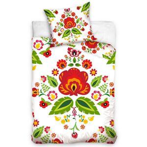 Tiptrade Bavlnené obliečky Folklór Ľudové kvety biela, 140 x 200 cm, 70 x 90 cm