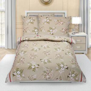 Bellatex Bavlnené obliečky Kvetiny kávová, 140 x 220 cm, 70 x 90 cm, 140 x 220 cm, 70 x 90 cm