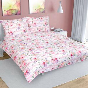 Bellatex Bavlnené obliečky kvet s pruhom ružová
