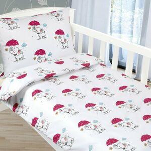 Bellatex Detské obliečky Agáta Sloníky v daždi, 90 x 135 cm, 45 x 60 cm