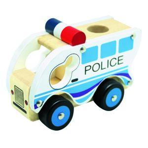 Bino Drevené auto Polícia, modrá