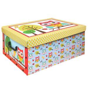 Box s vekom Owl 49 x 24 x 39 cm, žlté veko