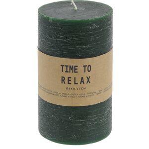 Dekoratívna sviečka Time to relax zelená, 15 cm