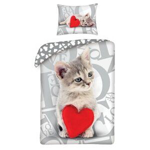 Halantex Detské bavlnené obliečky Love Cat, 140 x 200 cm, 70 x 90 cm