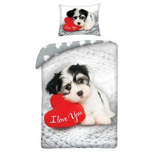 Halantex Bavlnené obliečky Love Dog, 140 x 200 cm, 70 x 90 cm