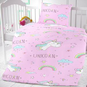 Kvalitex Detské bavlnené obliečky do postieľky Unicorn, 90 x 135 cm, 45 x 60 cm