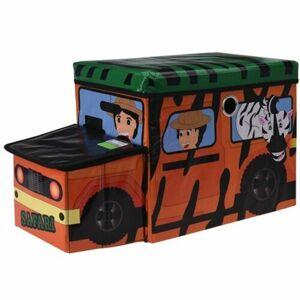 Detský úložný box a sedátko Safari bus oranžová, 55 x 26 x 31 cm