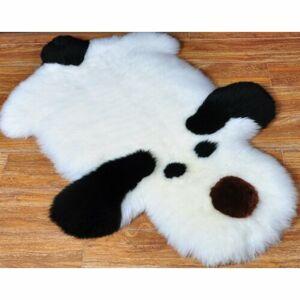 Domarex Detský kožušinový koberček Pes čiernobiela, 50 x 80 cm
