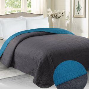 Domarex Obojstranný prehoz na posteľ Vera grafitová/modrá, 220 x 240 cm
