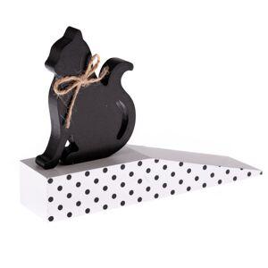 Drevená dverná zarážka s mačkou, čierna bodka, 17,5 x 10 x 4 cm