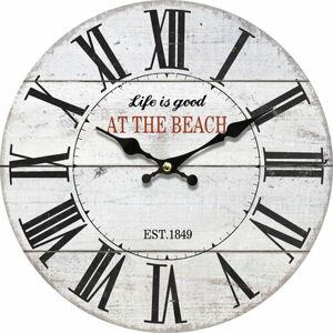 Drevené nástenné hodiny At the beach, pr. 34 cm