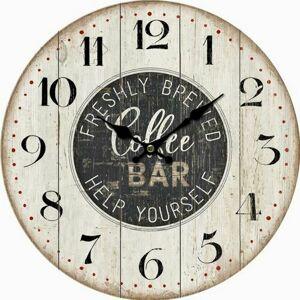 Drevené nástenné hodiny Coffee bar, pr. 34 cm
