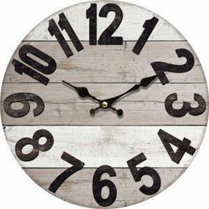 Drevené nástenné hodiny Vintage wood, pr. 34 cm