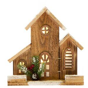 Drevený domček s osvetlením, 21 x 21 x 6 cm