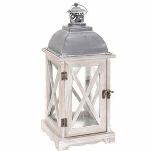 Drevený lampáš Trappeto biela, 16 x 41 cm,