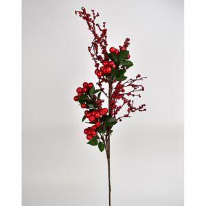 Jesenná dekorácia vetvička s červenými bobuľami, 60 cm