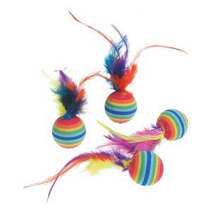 Karlie Catnip dúhové loptičky s perím, pr. 3 cm