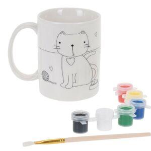 Keramický hrnček k domaľovaniu Mačka, kreatívna sada