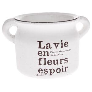 Keramický obal na kvetináč La vie biela, 21 cm
