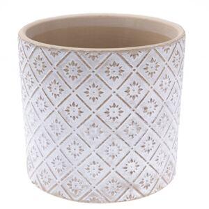 Keramický obal na kvetináč Ornamental biela, pr. 13,5 cm