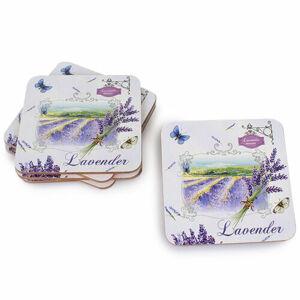 Dakls Korková podložka pod šálku Lavender biela, 10 x 10 cm, sada 6 ks