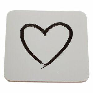 Dakls Korková podložka pod šálku Srdce biela, 10 x 10 cm, sada 6 ks