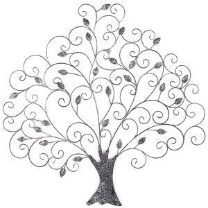 Kovová dekorácia na stenu Strom s lístkami, 82 cm
