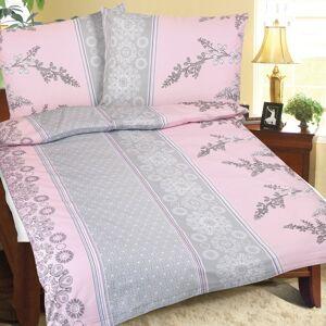 Bellatex Krepové obliečky Krík ružovo-sivá, 140 x 200 cm, 70 x 90 cm