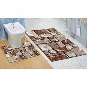 Bellatex Kúpeľňová sada 3D tlač Kamenná dlažba, 60 x 100 cm, 60 x 50 cm