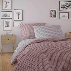 Kvalitex Bavlnené obliečky Nordic Kare ružová, 140 x 200 cm, 70 x 90 cm