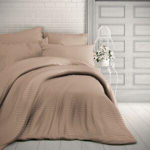Kvalitex Saténové obliečky Stripe béžová, 240 x 220 cm, 2 ks 70 x 90 cm