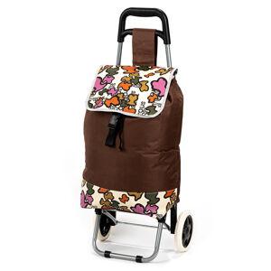 Nákupná taška na kolieskach Obrazce, hnedá