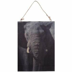 Obraz na dreve Slon, 28,5 x 20,5 cm