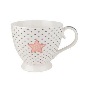 Porcelánový hrnček Dotted Star 460 ml, biela,