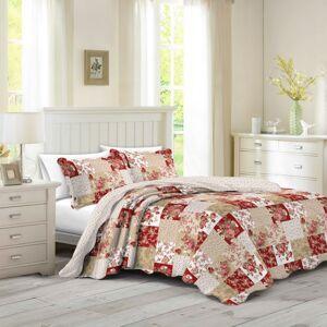 Prehoz na posteľ Patchwork ruže Heda, 140 x 200 cm, 1ks 50 x 70 cm, 140 x 200 cm