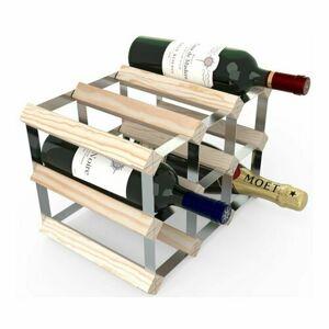 Stojan na víno RTA na 9 fliaš, prírodná borovica - pozinkovaná oceľ / rozložený