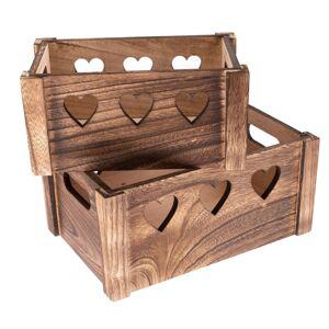 Sada dekoračných drevených debničiek Hearts 2 ks, hnedá