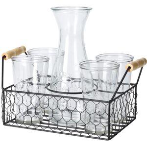 Sada karafy a 4 pohárov v drôtenom stojane