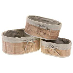 Sada oválnych bambusových košíkov, 3 ks
