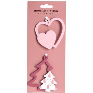 Sada vianočných ozdôb Tree and heart, 2 ks