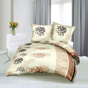 Bellatex Saténové obliečky Lúka béžová, 140 x 220 cm, 70 x 90 cm