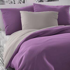 Kvalitex Saténové obliečky Luxury Collection fialová/svetlosivá, 240 x 220 cm, 2 ks 70 x 90 cm